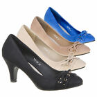LUXUS NEU DESIGNER DAMENSCHUHE PUMPS q6wk DEKO SCHLEIFE USED LOOK HIGH HELLS |
