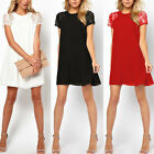 New Hot Womens Loose Casual Short Sleeve Lace Splice Chiffon Club Party Dress