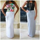 SPORTY GIRL FRENCH TERRY DRAWSTRING MAXI SKIRT SOLID WHITE HEATHER GREY USA MADE