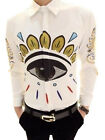 Mens Fashion British Eye print long Sleeve fit White Dress Shirts