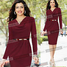 Women Elegant Belted Cowl Neck Business Casual Work Party Tunic Pencil Dress 383