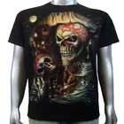 Pirate Crime Sailor Skull Star Ship 3D Piercing Sword Tattoo Mens T-shirt M & L