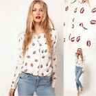 ASOS Blouse Shirt Top With Lip Red Kiss Lipstick Print (807)