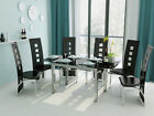 Black Glass 4 or 6 Seat Extendable Dining Table & Black Faux Leather Chairs Set