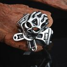 Gothic Jewelry Stainless Steel Black Silver Tribe Skull Cool Biker Men's Ring