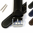 Padded Genuine Leather Watch Strap/Band - Spring Bars and Stainless Steel Buckle
