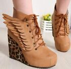 Fashion Womens Leopard Angel Wings Sexy Wedge Heels Platform Lace Up Boots Shoes