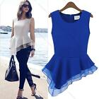 NEW Women Fashion Peplum Sleeveless Frill Fitted Shirt Tails Chiffon Blouse Tops