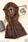 New 100% Real Genuine Knitted Mink Fur Vest Long Gilet Waiscoat Coat Hoodie Warm