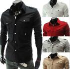 Men Fashion Double Pockets Black Long Sleeve Shirt Casual Badges Tops T-shirts