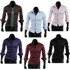Fashion Solid Color Luxury Men Wild Slim Casual Long Sleeve Shirt Cotton T-shirt