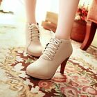 New Womens Sexy Lace Up Round Toe High Heel Platform Ankle Boots Shoes Plus Size