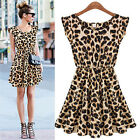 Hot Womens Sexy Slim Leopard Sleeveless Elastic Waist Dress Mini Casual Skirt