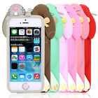 Fashion 3D Cute Lovely Rabbit Pattern Silicone Case Cover For Apple iPhone 4 4S