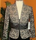 MARINA NWT $149 evening black and beige lace women's party shirt cocktail event