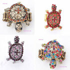 Realistic Gold&Silver Tortoise Design Crystal Rhinestone Stretchy Ring 6 Colors