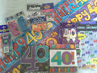 40th birthday decorations ~ banners, confetti, ballons, napkins and candle