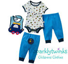 NEW BABY BOYS OUTFIT SET -BIB, TROUSERS TOP - BLUE CARS TRUCKS SIZES 0-18 MONTHS