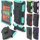For AT&T Nokia Lumia 520 Future Armor Impact Hybrid Kickstand Holster Case Cover