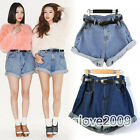 Fashion Girl High Waisted Oversize loose Crimping Boyfriend Jeans Shorts Pants