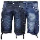Mens Denim Shorts Rawcraft Combat Cargo Knee Length Half Pants Jeans Summer New