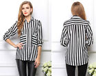 Vintage Women Long Sleeve Stripe Chiffon Casual Shirt Tops Comfty Blouse 4 Size