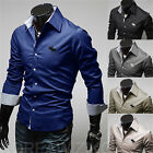 New Men Stylish Embroidery Blouse Casual Slim Fit Tops Classic Solid Dress Shirt