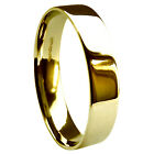 5mm 18ct 750 Yellow Gold UK HM Heavy Flat Court Comfort Wedding Band Ring