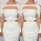 Womens Plus Size Sexy Hollow Pencil Celeb Bodycon Bandage Party Dress White Hot