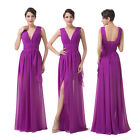 Graduation Sexy Bridesmaid V-Neck Long Cocktail Party Evening Prom Wedding Dress