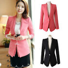 Fashion Women Slim Small Suit Jacket Korean Casual Sweet One Buckle Coat Black