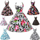 UK CHEAP FAST~ Rockabilly 50s 60s Flower Vintage Swing Party Evening Prom Dress