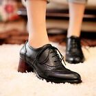 Plus Size Womens Vintage Block Heel Leather Flat Oxford Boots Casual Shoes Pumps