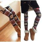Casual Women Soft Knitted Warm Trousers Snowflake Reindeer Leggings Tights Pant