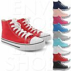NEW WOMENS CASUAL HIGH TOP CANVAS PUMPS LADIES FLAT LACE UP TRAINER PUMP SHOE
