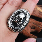 Cool Rocker Stainless Steel Men's skeleton skulls Ring XMAS Gifts US 8-12#
