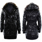 Womens Puffer Quilted Coats Ladies Fur Hooded Puffer Padded Warm Winter Jackets