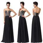 Corset Style Beaded Long Sexy Strapless Formal Cocktail Prom Party Evening Dress