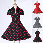VINTAGE 50s Rockabilly Polka Dot Retro Short Sleeve Bow Swing Party Prom Dress