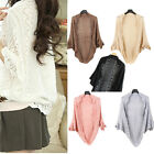 High Quality Ladies Crochet Knit Shawl  Hollow Out Top Sweater  WB