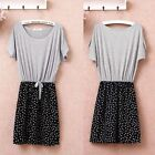 Women Gray Patchwork Chiffon Polka Dots Skirt Crew Neck Short Sleeve Mini Dress