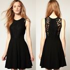 Cocktail Party Evening Celebrity Lace Top Sleeveless Chiffon Little Black Dress