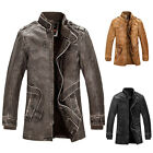 HOT SELLING~ Rugged style Men's Slim Collared Faux Leather Coat Outerwear TOPS