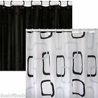 Polyester Fabric Bath Shower Curtain Black Or White 180 x 200 cm With Rings