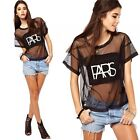 Women Sexy Mesh See-through Letter Short Sleeve Loose T-shirt Tee Black Crop Top