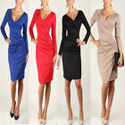 Women Sexy V-neck Long Sleeve Slim Package Hip Skirt Party Prom Pleated Dress