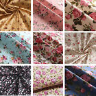 Floral Fabric 100% Cotton Rose Material Vintage Metre Chic Craft Quilting 150cm