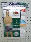 5pr Men's Fruit of the Loom Relaxed Fit White Tagless Boxer Shorts sizes S-XL