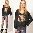 Women Punk Indian Chief Head Print Crew Neck Long Sleeve Sweatshirt Pullover Top