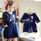 Spring Autumn Baby Child Kids Girls Party White Heart 3/4 Long Sleeve Dress 2-7Y